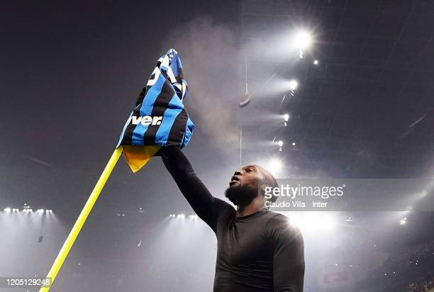 Romelu Lukaku of FC Internazionale celebrates after scoring the fourth goal during the Serie A match between FC Internazionale and AC Milan at Stadio...
