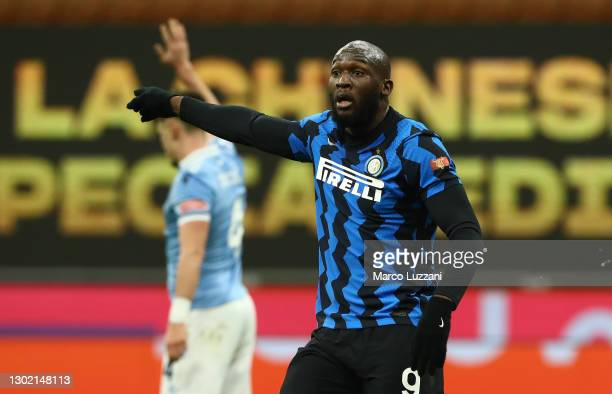 Romelu Lukaku of FC Internazionale celebrates after scoring their team's second goal during the Serie A match between FC Internazionale and SS Lazio...