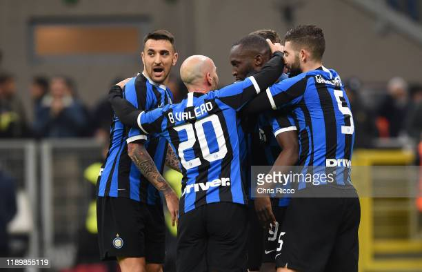 Romelu Lukaku of FC Internazionale celebrates goal with teammates during the Serie A match between FC Internazionale and Genoa CFC at Stadio Giuseppe...