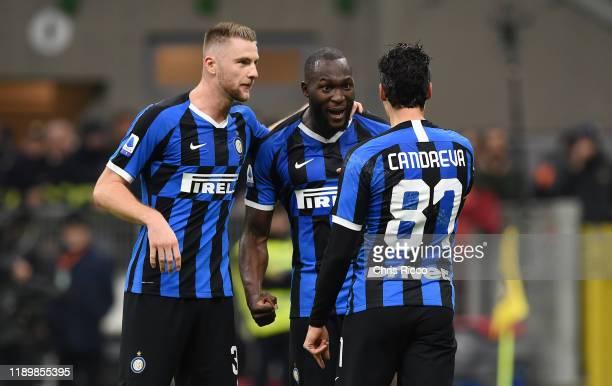 Romelu Lukaku of FC Internazionale celebrates goal with teammates Milan Skriniar of FC Internazionale and Antonio Candreva of FC Internazionale...