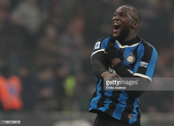 Romelu Lukaku of FC Internazionale celebrates the victory at the end of the Serie A match between FC Internazionale and AC Milan at Stadio Giuseppe...