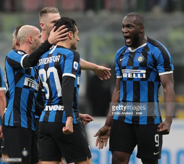 Romelu Lukaku of FC Internazionale celebrates with Antonio Candreva and Milan Skriniar of FC Internazionale after scoring the opening goal during the...