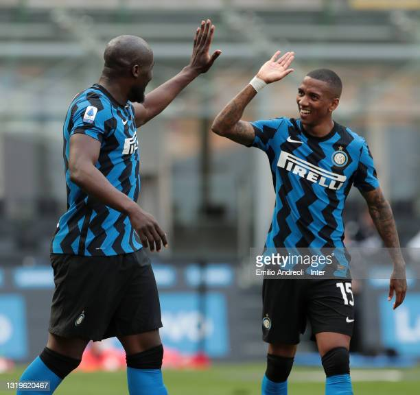 Romelu Lukaku of FC Internazionale celebrates with Ashley Young after scoring their team's fifth goal during the Serie A match between FC...