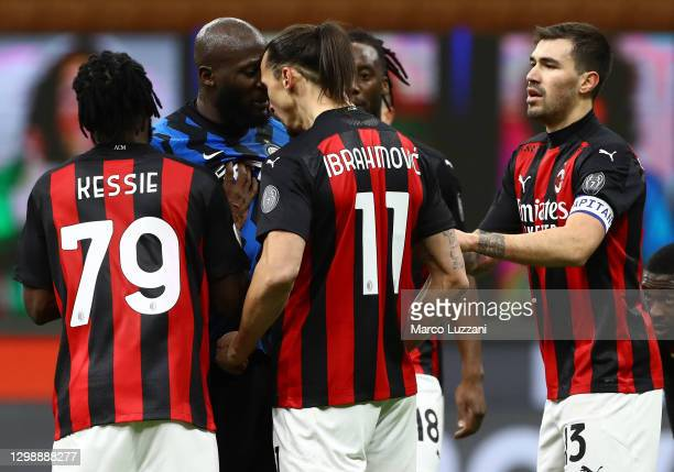 Romelu Lukaku of FC Internazionale clashes with Zlatan Ibrahimovic of AC Milan during the Coppa Italia match between FC Internazionale and AC Milan...