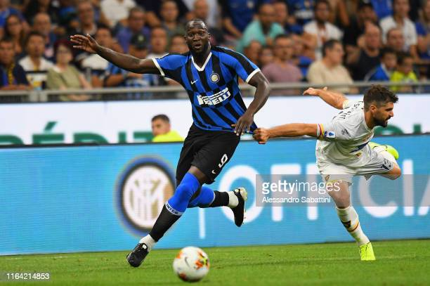 Romelu Lukaku of FC Internazionale competes for the ball with Luca Rossettini of US Lecce during the Serie A match between FC Internazionale and US...