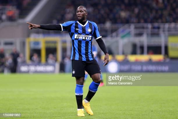 Romelu Lukaku of FC Internazionale gestures during the Coppa Italia semi-final first leg match between FC Internazionale and Ssc Napoli. Ssc Napoli...