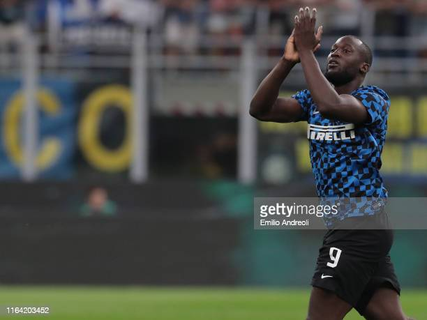 Romelu Lukaku of FC Internazionale greets the fans prior to the Serie A match between FC Internazionale and US Lecce at Stadio Giuseppe Meazza on...