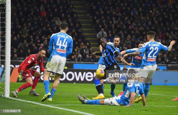 Romelu Lukaku of FC Internazionale in action during the Coppa Italia Semi Final match between FC Internazionale and SSC Napoli at Stadio Giuseppe...