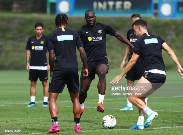 Romelu Lukaku of FC Internazionale in action during the FC Internazionale training session at the club's training ground Suning Training Center in...