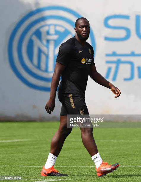 Romelu Lukaku of FC Internazionale looks on during the FC Internazionale training session at the club's training ground Suning Training Center in...