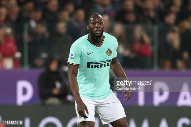 Romelu Lukaku of FC Internazionale looks on during the Serie A match between ACF Fiorentina and FC Internazionale at Stadio Artemio Franchi on...