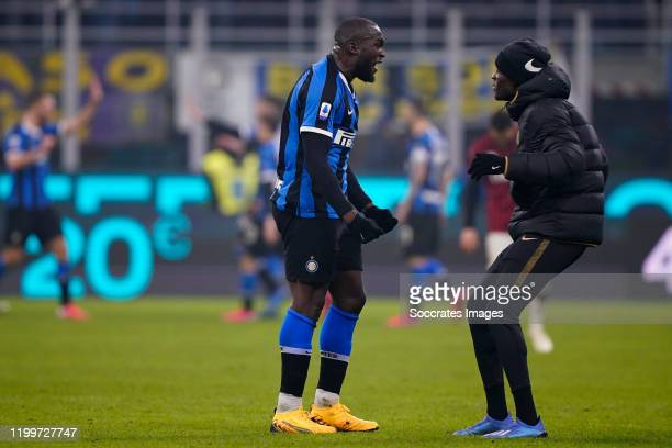 Romelu Lukaku of FC Internazionale Milano with Kwadwo Asamoah of FC Internazionale Milano celebrates the victory during the Italian Serie A match...