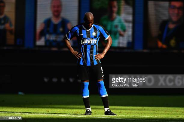 Romelu Lukaku of FC Internazionale reacts at the end of the Serie A match between FC Internazionale and Bologna FC at Stadio Giuseppe Meazza on July...
