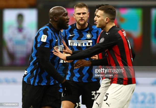 Romelu Lukaku of FC Internazionale reacts during the Coppa Italia match between FC Internazionale and AC Milan at Stadio Giuseppe Meazza on January...