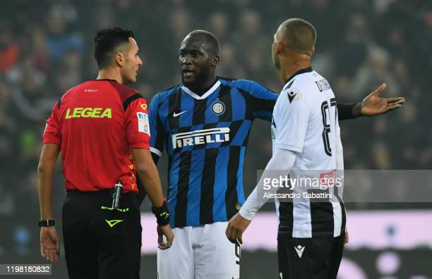 Romelu Lukaku of FC Internazionale reacts during the Serie A match between Udinese Calcio and FC Internazionale at Stadio Friuli on February 2 2020...