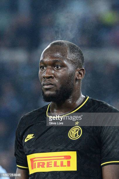 Romelu Lukaku of FC Internazionale reacts during the Serie A match between SS Lazio and FC Internazionale at Stadio Olimpico on February 16 2020 in...