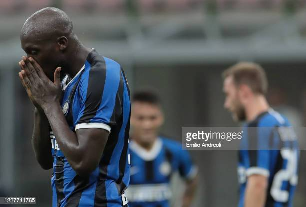 Romelu Lukaku of FC Internazionale reacts during the Serie A match between FC Internazionale and ACF Fiorentina at Stadio Giuseppe Meazza on July 22...