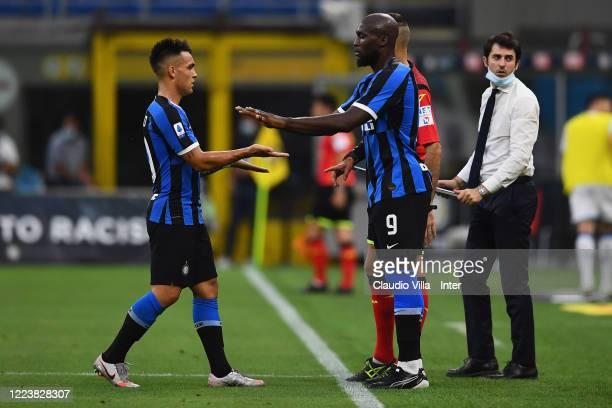 Romelu Lukaku of FC Internazionale replaces Lautaro Martinez of FC Internazionale during the Serie A match between FC Internazionale and Brescia...