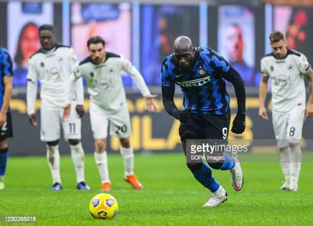 Romelu Lukaku of FC Internazionale, scores a penalty during the Serie A 2020/21 match between FC Internazionale vs Spezia Calcio at San Siro Stadium....