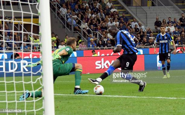 Romelu Lukaku of FC Internazionale scores his team third goal during the Serie A match between FC Internazionale and US Lecce at Stadio Giuseppe...
