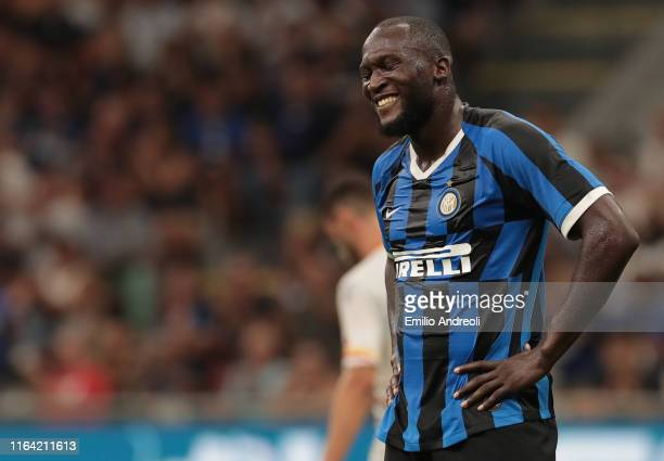 Romelu Lukaku of FC Internazionale smiles during the Serie A match between FC Internazionale and US Lecce at Stadio Giuseppe Meazza on August 26,...