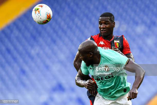 Romelu Lukaku of Inter and Cristian Zapata of Genoa during the Serie A match between Genoa CFC and FC Internazionale at Stadio Luigi Ferraris on July...