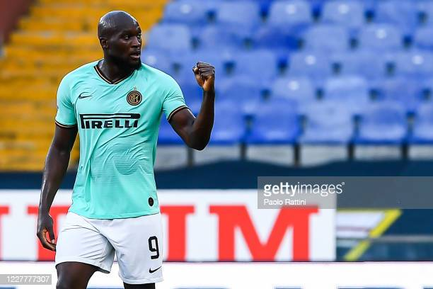 Romelu Lukaku of Inter celebrates after scoring a goal during the Serie A match between Genoa CFC and FC Internazionale at Stadio Luigi Ferraris on...