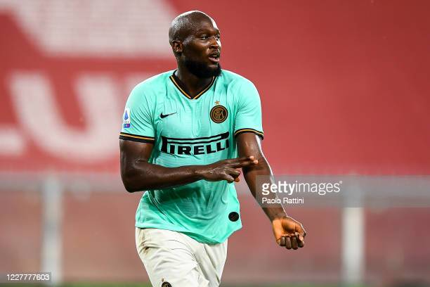 Romelu Lukaku of Inter celebrates and gestures with two fingers on his arm after scoring his second goal during the Serie A match between Genoa CFC...