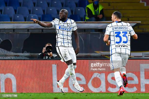Romelu Lukaku of Inter celebrates with his team-mate Danilo DAmbrosio after scoring a goal during the Serie A match between Genoa CFC and Fc...