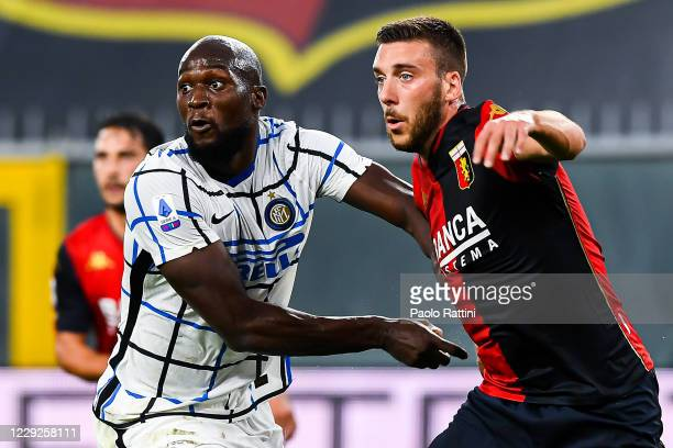 Romelu Lukaku of Inter controlled by Mattia Bani of Genoa during the Serie A match between Genoa CFC and Fc Internazionale at Stadio Luigi Ferraris...
