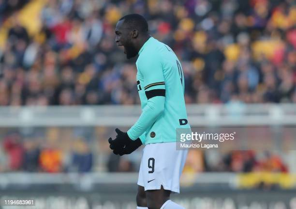 Romelu Lukaku of Inter during the Serie A match between US Lecce and FC Internazionale at Stadio Via del Mare on January 19, 2020 in Lecce, Italy.
