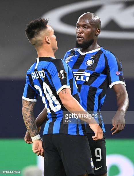 Romelu Lukaku of Inter Milan celebrates after scoring his sides first goal with Lautaro Martínez during the UEFA Europa League round of 16 single-leg...