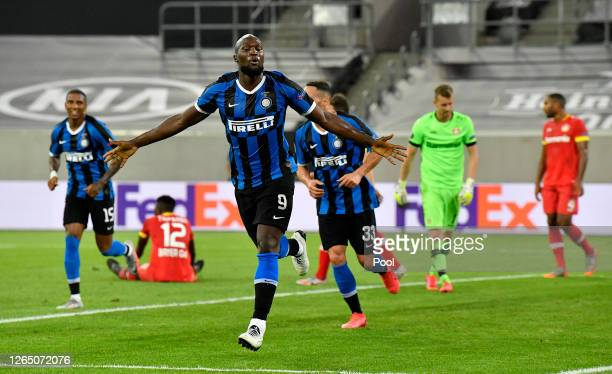 Romelu Lukaku of Inter Milan celebrates after scoring his sides second goal during the UEFA Europa League Quarter Final between FC Internazionale and...