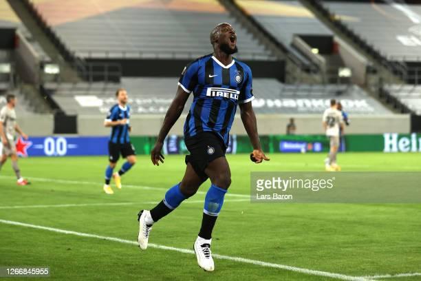 Romelu Lukaku of Inter Milan celebrates after scoring his team's fifth goal during the UEFA Europa League Semi Final between Internazionale and...