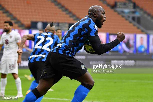 Romelu Lukaku of Inter Milan celebrates after scoring their sides second goal during the Serie A match between FC Internazionale and Torino FC at...