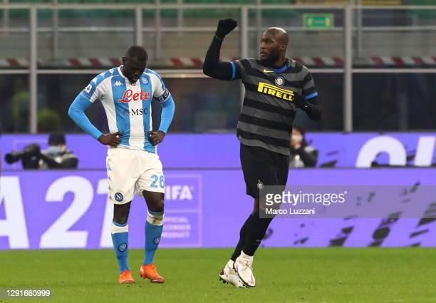 Romelu Lukaku of Inter Milan celebrates after scoring their team's first goal from the penalty spot during the Serie A match between FC...