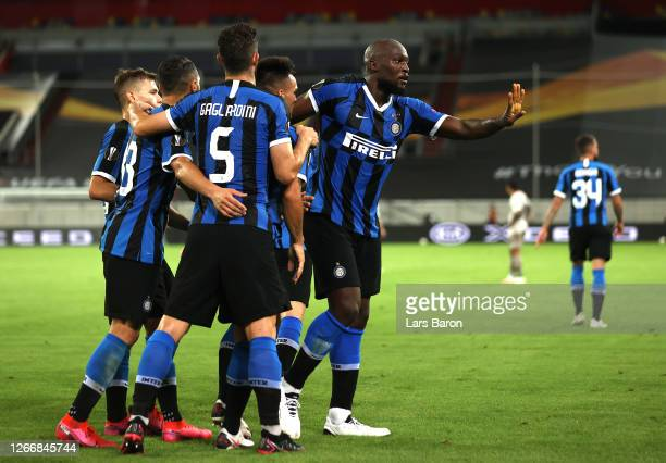 Romelu Lukaku of Inter Milan celebrates with his team mates after scoring his team's fourt goal during the UEFA Europa League Semi Final between...