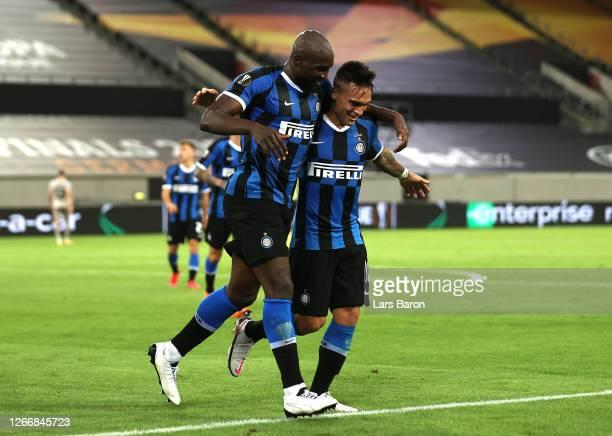 Romelu Lukaku of Inter Milan celebrates with Lautaro Martinez after scoring his tam's fourth goal during the UEFA Europa League Semi Final between...