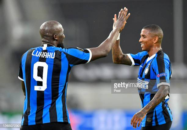Romelu Lukaku of Inter Milan celebrates with teammate Ashley Young after scoring his sides second goal during the UEFA Europa League Quarter Final...