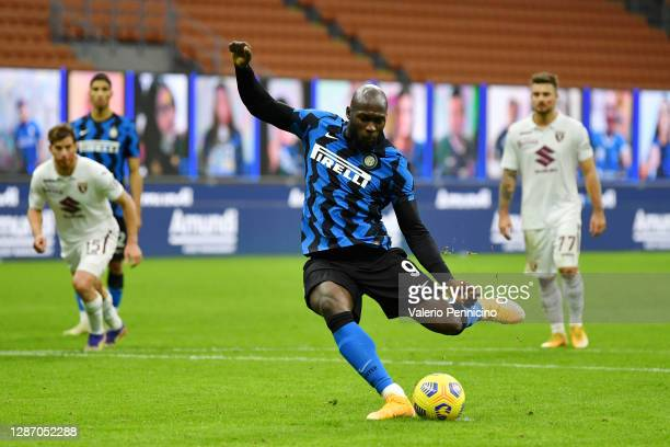 Romelu Lukaku of Inter Milan scores their sides third goal from the penalty spot during the Serie A match between FC Internazionale and Torino FC at...