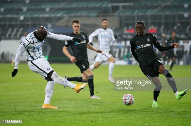 Romelu Lukaku of Inter Milan scores their team's second goal during the UEFA Champions League Group B stage match between Borussia Moenchengladbach...
