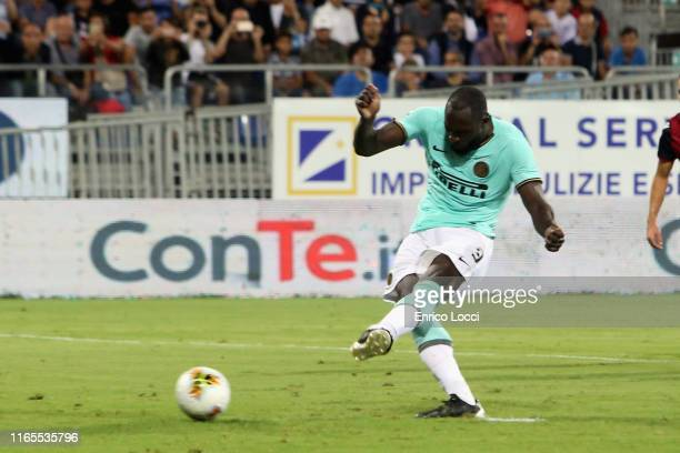 Romelu Lukaku of Inter scores his goal 12 during the Serie A match between Cagliari Calcio and FC Internazionale at Sardegna Arena on September 1...