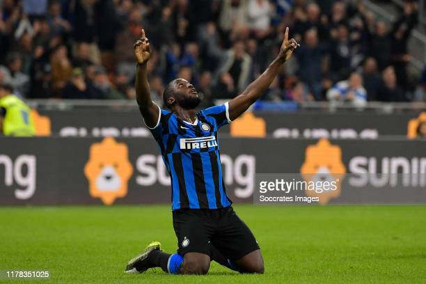 Romelu Lukaku of Internazionale celebrate his goal during the Italian Serie A match between Internazionale v Parma at the San Siro on October 26 2019...