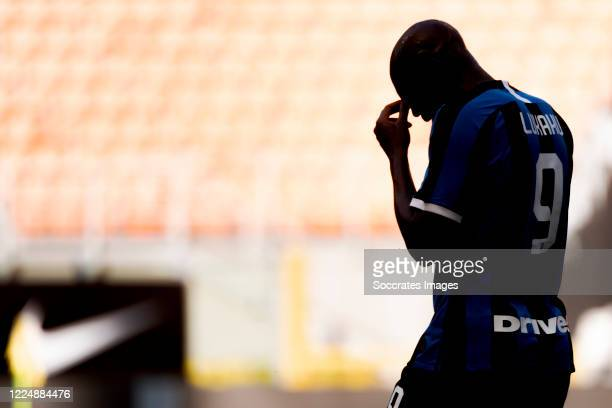 Romelu Lukaku of Internazionale during the Italian Serie A match between Internazionale v Bologna at the San Siro on July 5 2020 in Milan Italy