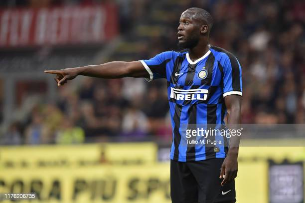 Romelu Lukaku of Internazionale gestures during the Serie A match between AC Milan and FC Internazionale at Stadio Giuseppe Meazza on September 21...