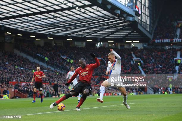 Romelu Lukaku of Man Utd battles with Max Meyer of Palace during the Premier League match between Manchester United and Crystal Palace at Old...
