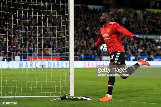 Romelu Lukaku of Man Utd celebrates after scoring their 2nd goal during The Emirates FA Cup Fifth Round match between Huddersfield Town and...