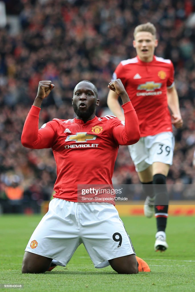 Romelu Lukaku of Man Utd celebrates their 2nd goal during the Premier League match between Manchester United and Liverpool at Old Trafford on March 10, 2018 in Manchester, England.