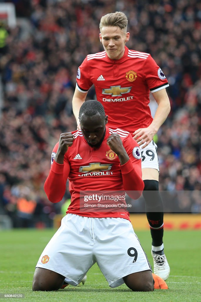 Romelu Lukaku of Man Utd celebrates their 2nd goal in front of teammate Scott McTominay of Man Utd during the Premier League match between Manchester United and Liverpool at Old Trafford on March 10, 2018 in Manchester, England.