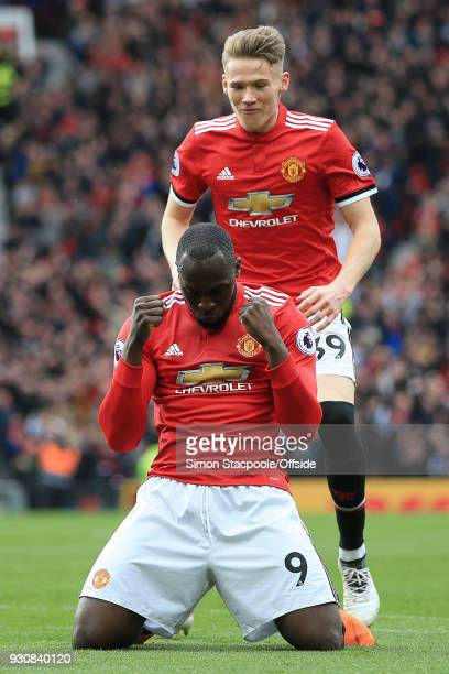 Romelu Lukaku of Man Utd celebrates their 2nd goal in front of teammate Scott McTominay of Man Utd during the Premier League match between Manchester...